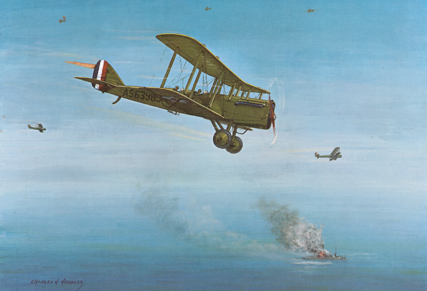 A Charles Hubbell painting of Billy Mitchell's famous moment sinking the German war prize battleship Ostfriesland in a demonstration of Strategic Air Power. (image via SAC Museum)